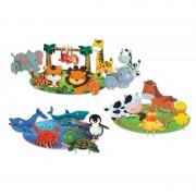 Joc de potrivire Animalute 3D Learning Kitds, 3 habitate, 20 animalute
