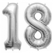 De-Ultimate Solid Silver Color 2 Digit Number (18) 3d Foil Balloon for Birthday Celebration Anniversary Parties