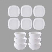 Nucleya Retail 12Pcs Melamine Square Round Serving Plate Bowl // 13 4.25 INCH // White