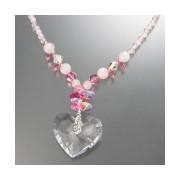 JN クリスタルガラス ロマンティックピンクハート ネックレス【QVC】