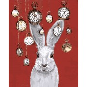 Verf op nummer - konijn en horloges op rode achtergrond - op lijst - 40x50cm