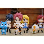 Kingwell Full Set of 6 Favorites Fairy Tail Anime Figures Characters Miniature Toy Figures Natsu Dragneel, Happy, Ezra Scarlet, Gray Fullbuster, Lucy Heartfilia, and Pue (A.k.a. Nokora) Figures