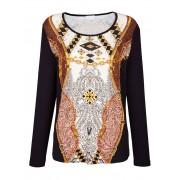 MONA Shirt MONA Zwart::Cognac::Beige
