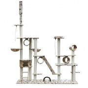 vidaXL Deluxe kočičí škrabadlo / strom 230-260 cm béžové s otisky tlapek