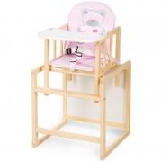 Scaun masa din lemn Bobo Klups Ursulet Roz