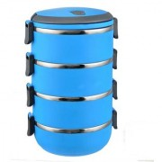 6th Dimensions 4 Layer Lunch Box Stainless Steel Tiffin Hot Box Vaccum Insulated (Blue