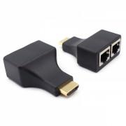 Doua adaptoare HDMI tata la RJ45 1080P HD pentru extensie cablu retea LAN, negru