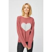 MOODO Sweter z sercem - - różowy