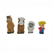 Little People Animal Sounds Farm / Zoo Figures (Set of 4 - Farmer, Horse, Cow, and Sheep)