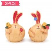 2pcs Fat Conejo Conejo Ajo Artesanía Resina Decoraciones Coche Ornamentos Interiores