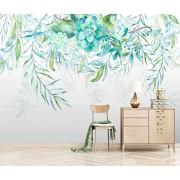 LIWALLPAPER Personalizado Papel Pintado 3d Murales Acuarela Verde Hojas Flores Papel Tapiz Sala De Estar Decoración de Pared Wallpaper 430cmX300cm