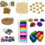 Beadsnfashion Silk thread bangle making designing kit with all materials multiple accessories- with thin bangles