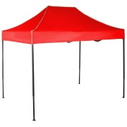 Gyorsan összecsukható sátor 2x3m – acél, Piros, Oldalfalak nélkül