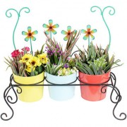 Wonderland Chair Planter With 3 Colorful Metal Pots ( Planters For Home & Garden )