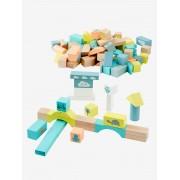 VERTBAUDET Jogo de construção, em madeira, com 100 peças castanho claro bicolor/multico
