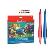 Creioane colorate plastic 2 capete 12 culori/set ERICHKRAUSE