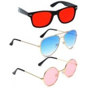 Elligator Aviator, Wayfarer, Round Sunglasses(Red, Blue, Pink)