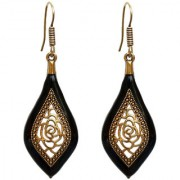 Lucky Jewellery Trendy Oxidised Plating Black Color Earring For Girls & Women
