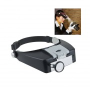 Estilo Headband 1.5x / 3x / 8.5x / 10x Lupa Con 2 Luces LED (gris)