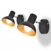 vidaXL Nástenné svietidlo na 2 žiarovky, ks, E27, čierno-zlaté