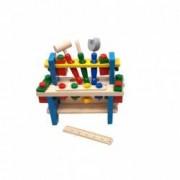 Jucarie multicolora din lemn cu banc suruburi cheie surubelnita si ciocan - D8TAN42
