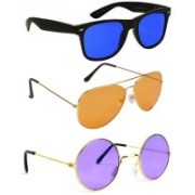 Elligator Aviator, Wayfarer, Round Sunglasses(Blue, Orange, Violet)