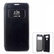 Flip-Open caso elegante de w / ventana de visualizacion para LG G5 - Negro