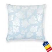 Perna Pernador cu puf si pana de gasca 80x80 cm albastru cu trandafiri