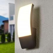 Lampenwelt.com Applique d'extérieur LED courbe Siara, gris foncé - LAMPENWELT.com