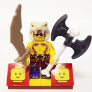 "Minifigure Packs: Lego Legends Of Ninjago Bundle ""(1) Ninjago Anacondrai Warrior Krait"" ""(1) Figure Display Base"" ""(2) Figure Accessorys (Skull Axe & Scimitar Sword)"""
