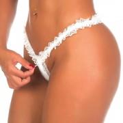 Fio Dental - Tanga Zíper - Pimenta Sexy - Boutique Apimentada (Único: 38 ao 42, Branco)