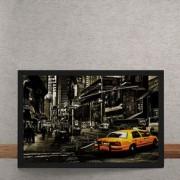 Quadro Decorativo Cidade Taxi 25x35