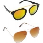 Hrinkar Clubmaster Sunglasses(Golden, Brown)