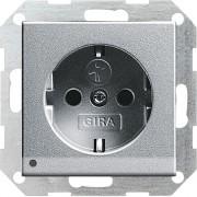 Gira stopcontact met witte LED verlichting kinderveilig aluminium