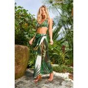 Sötétzöld Cosita Linda strandi hosszú ruha virágmintás díszítéssel áttetsző anyag