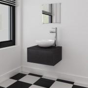 vidaXL Set mobilier baie 4 piese cu chiuvetă și robinet incluse, Negru