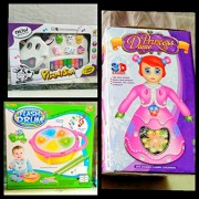 Play Design Musical Cow Piano Keyboard & Flash Drum & Princess Doll (Multi Colors) Combo Pack
