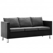 vidaXL Canapea cu 3 locuri, piele ecologică, negru și gri deschis