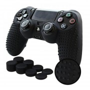 Ps4 Funda Texturizada Silicona + Grips Pro (Negro) - Playstation 4