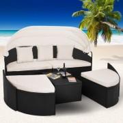 Ratanová zahradní postel PALAVA LUXUS černá