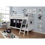 Ticaa Etagenbett »Erni«, mit Rollrost und Textil-Set wahlweise mit Matratze, Buche, Pirat schwarz-weiß