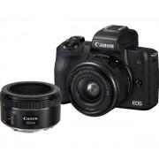 Canon EOS M50 + 15-45mm + 50mm + adapter EF-EOS M (czarny)