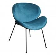 PTMD Stoel Janne - Velvet Turquoise - Blauw