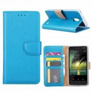 Luxe Lederen Bookcase hoesje voor de Nokia 2 - Blauw