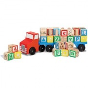 Emob ABC Learning Wooden Alphabetical Square Blocks With Wooden Truck Play Set Educational toy For Kids (Multicolor)
