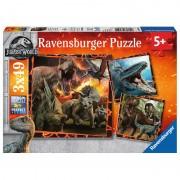 PUZZLE JURASSIC WORLD, 3X49 PIESE - RAVENSBURGER (RVSPC08054)