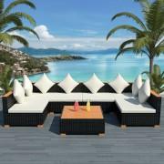 vidaXL Set mobilier de grădină 21 piese, poliratan, blat WPC, negru