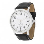 J. Goodin Leather Strap Classic Wrist Watch Black/Silver/White TW-14810