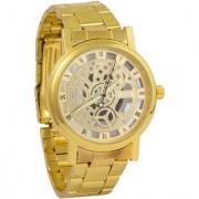 Jack Klein Round Golden Dial Stainless Steel Skeleton Wrist Watch
