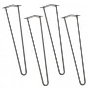 [en.casa]® Hairpin leg hajtűláb 72 cm stílusos asztalláb 4 darabos szett ezüst kétágú